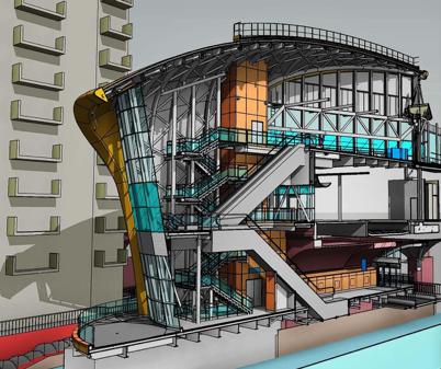 Figura 2 - Modelo virtual de construção em BIM com corte longitudinal